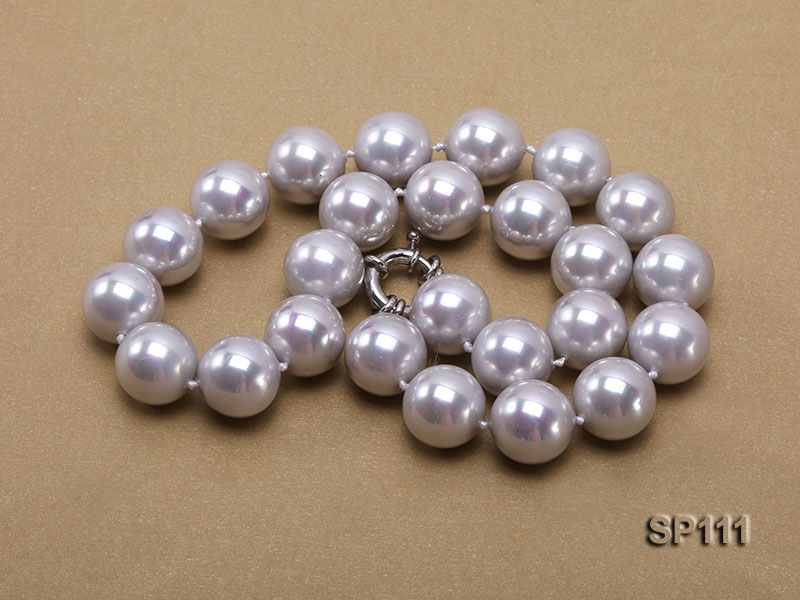 16mm grey round seashell pearl necklace big Image 3