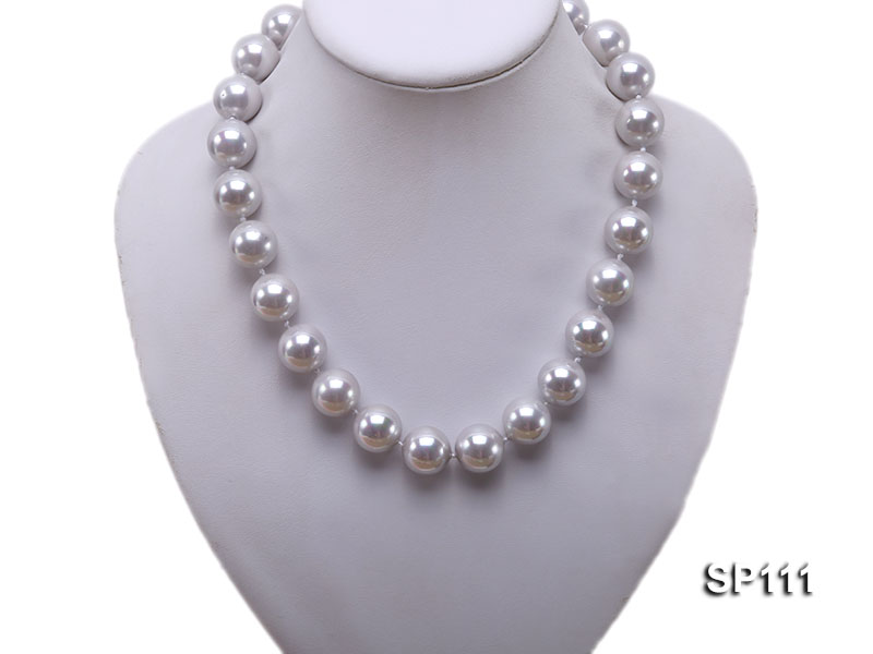 16mm grey round seashell pearl necklace big Image 5