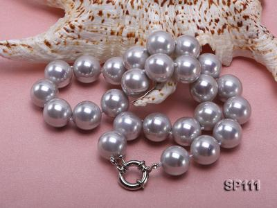 16mm grey round seashell pearl necklace SP111 Image 4