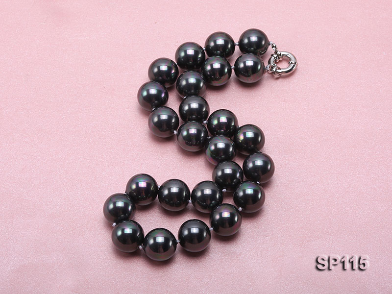 16mm shiny black round seashell pearl necklace big Image 2