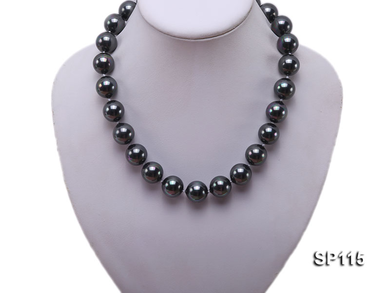 16mm shiny black round seashell pearl necklace big Image 5