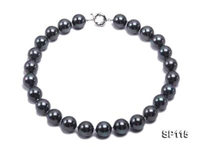 16mm shiny black round seashell pearl necklace SP115 Image 1