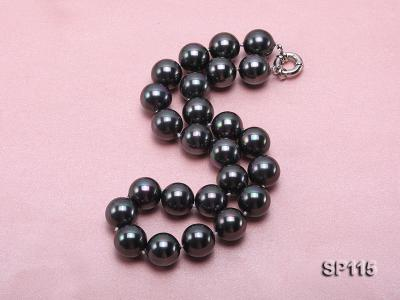 16mm shiny black round seashell pearl necklace SP115 Image 2