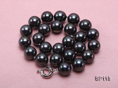 16mm shiny black round seashell pearl necklace SP115 Image 3