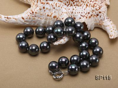 16mm shiny black round seashell pearl necklace SP115 Image 4