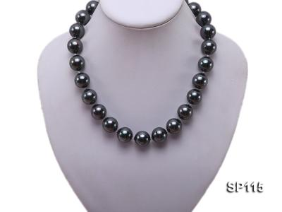 16mm shiny black round seashell pearl necklace SP115 Image 5