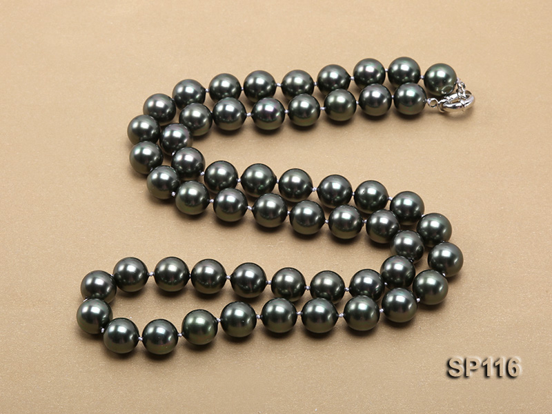 14mm dark green round seashell pearl opera necklace big Image 4