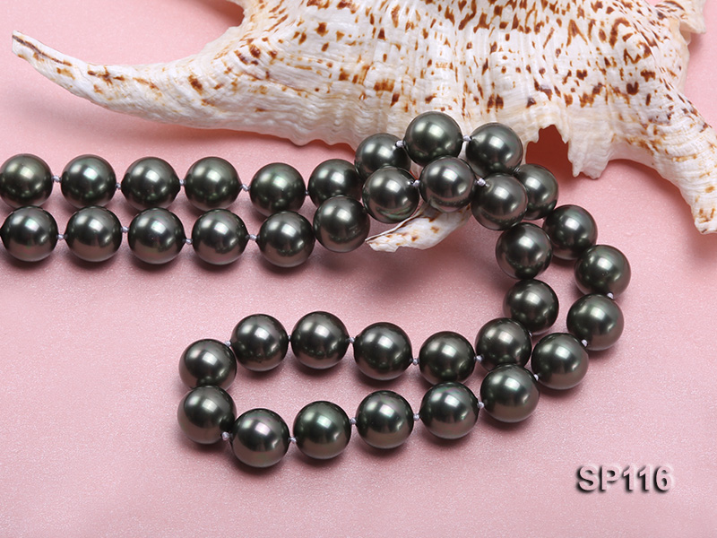 14mm dark green round seashell pearl opera necklace big Image 5