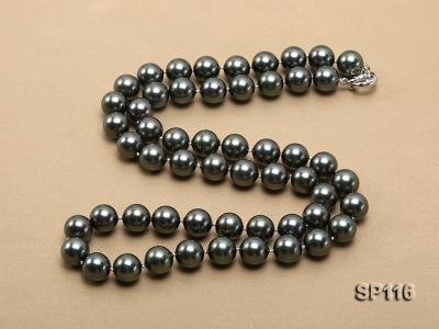 14mm dark green round seashell pearl opera necklace SP116 Image 4