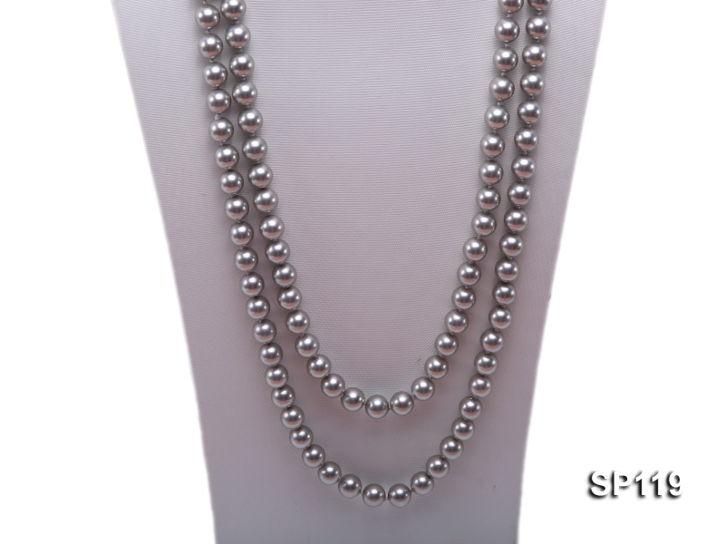 10mm grey round seashell pearl opera necklace big Image 2