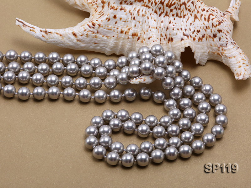 10mm grey round seashell pearl opera necklace big Image 5