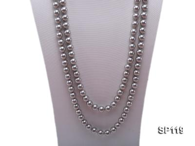 10mm grey round seashell pearl opera necklace SP119 Image 2