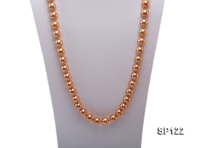 12mm bronze round seashell pearl opera necklace big Image 2
