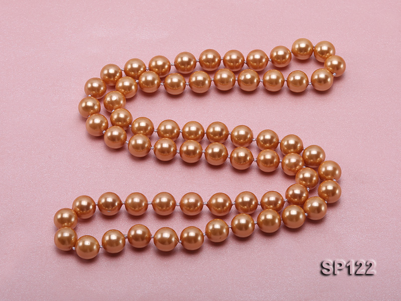 12mm bronze round seashell pearl opera necklace big Image 4