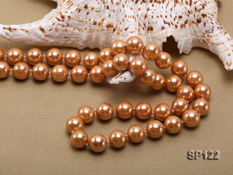 12mm bronze round seashell pearl opera necklace big Image 5