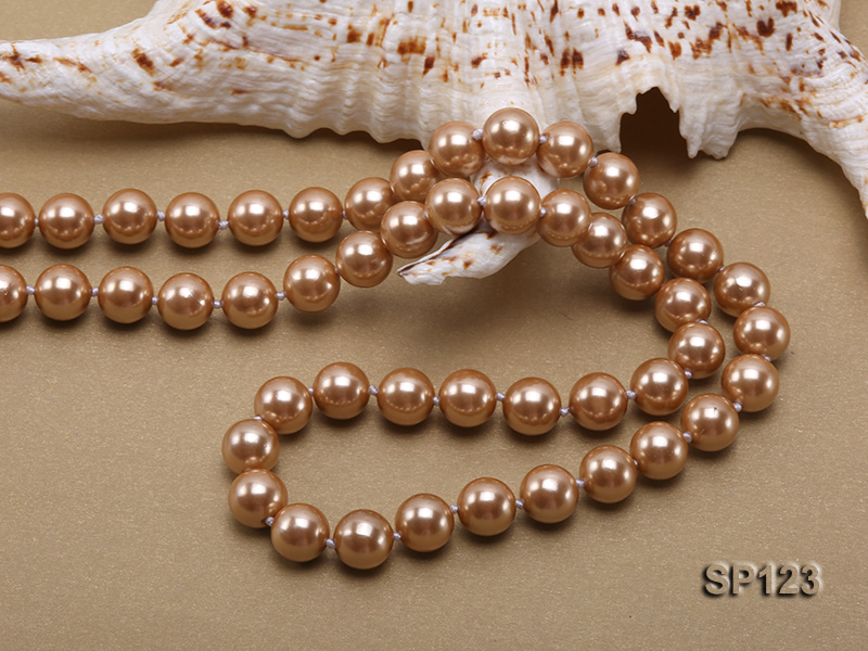 10mm deep coffee round seashell pearl opera necklace big Image 4