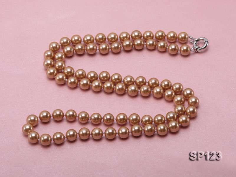 10mm deep coffee round seashell pearl opera necklace big Image 5
