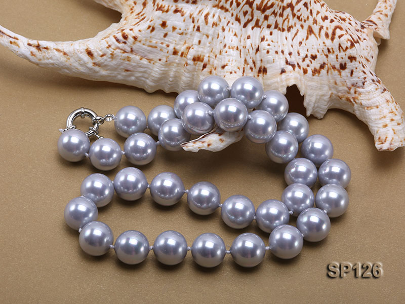 14mm grey round seashell pearl necklace big Image 3