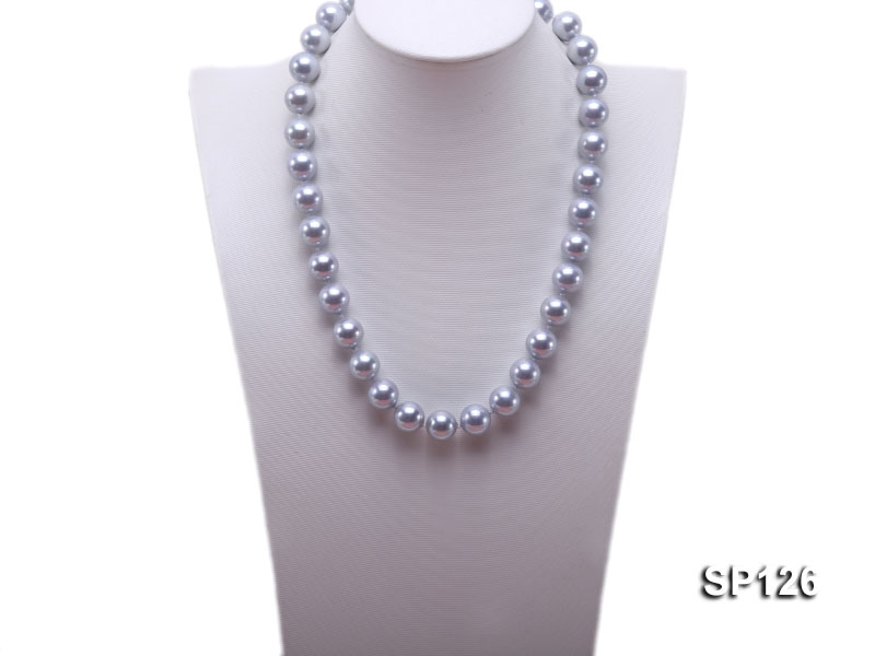 14mm grey round seashell pearl necklace big Image 4