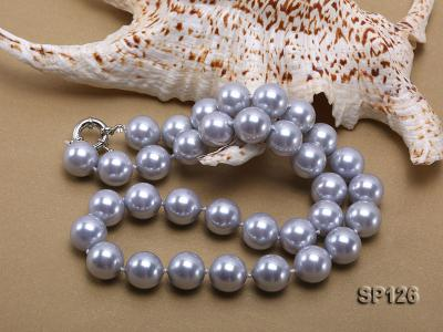 14mm grey round seashell pearl necklace SP126 Image 3