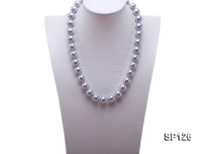 14mm grey round seashell pearl necklace SP126 Image 4