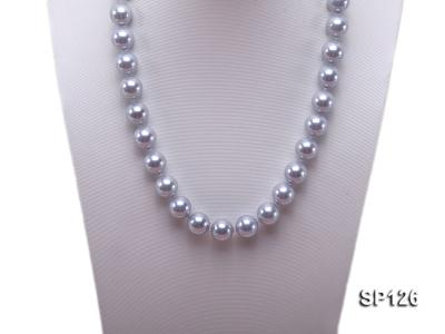 14mm grey round seashell pearl necklace SP126 Image 5