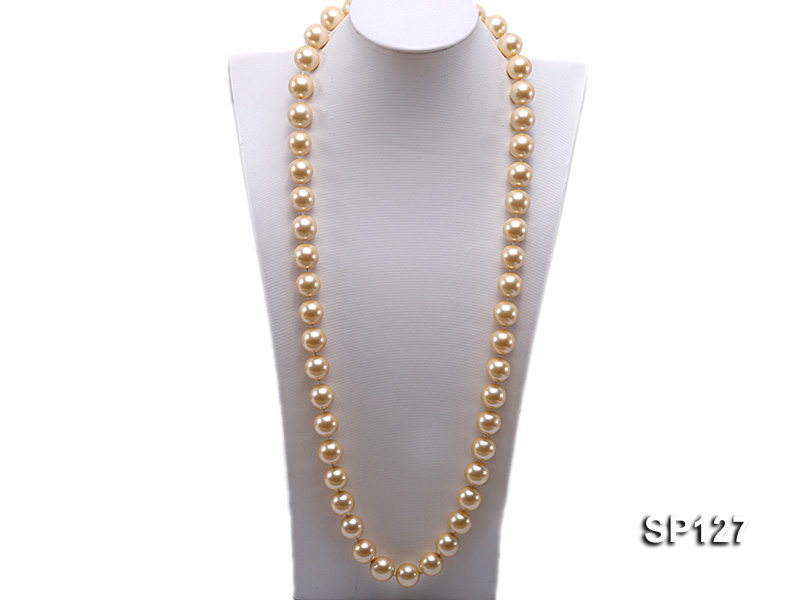16mm golden round seashell pearl opera necklace big Image 1