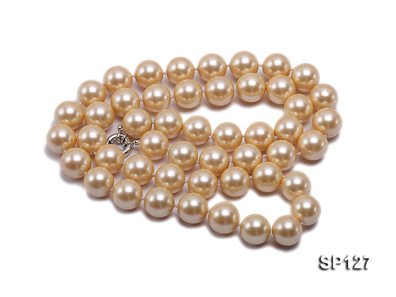 16mm golden round seashell pearl opera necklace big Image 2