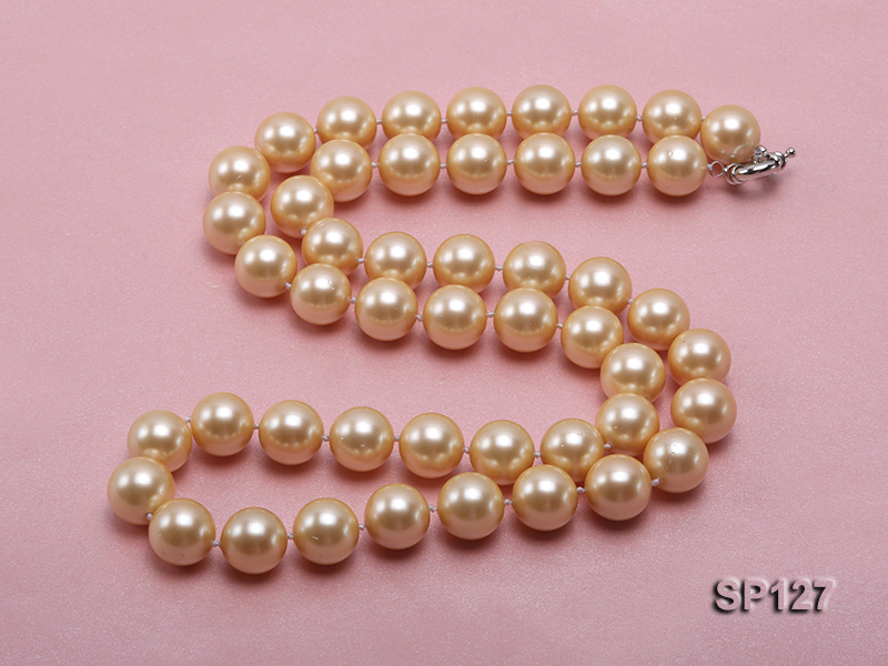 16mm golden round seashell pearl opera necklace big Image 3