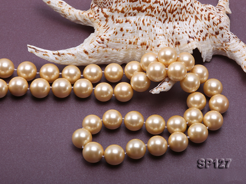 16mm golden round seashell pearl opera necklace big Image 4