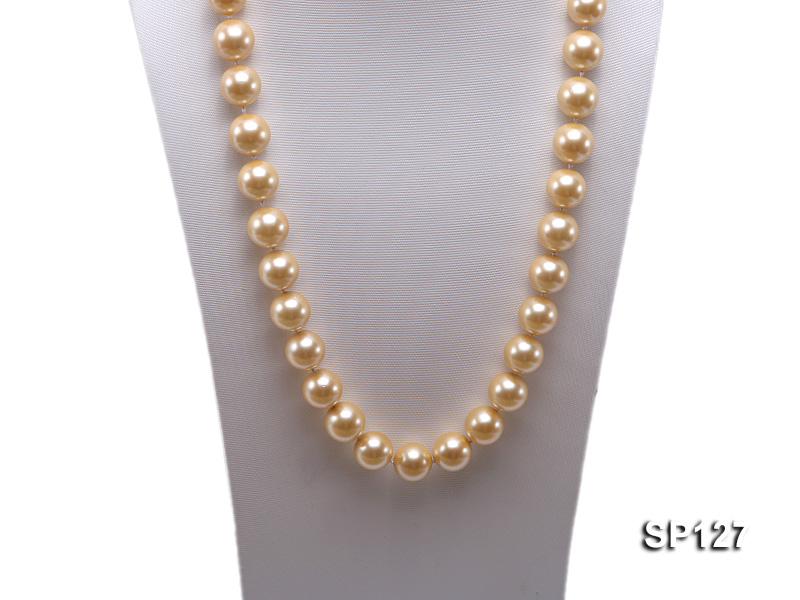 16mm golden round seashell pearl opera necklace big Image 5