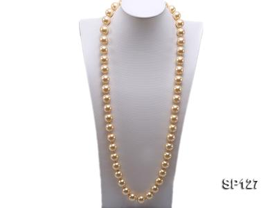16mm golden round seashell pearl opera necklace SP127 Image 1
