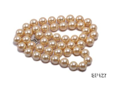 16mm golden round seashell pearl opera necklace SP127 Image 2