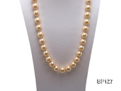 16mm golden round seashell pearl opera necklace SP127 Image 5