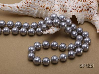 12mm grey round seashell pearl necklace SP128 Image 4