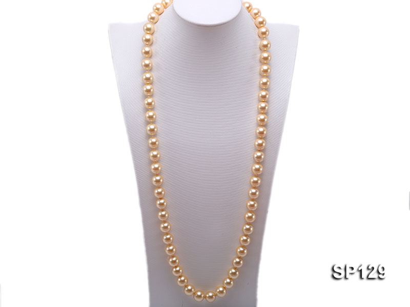 14mm golden round seashell pearl opera necklace big Image 1