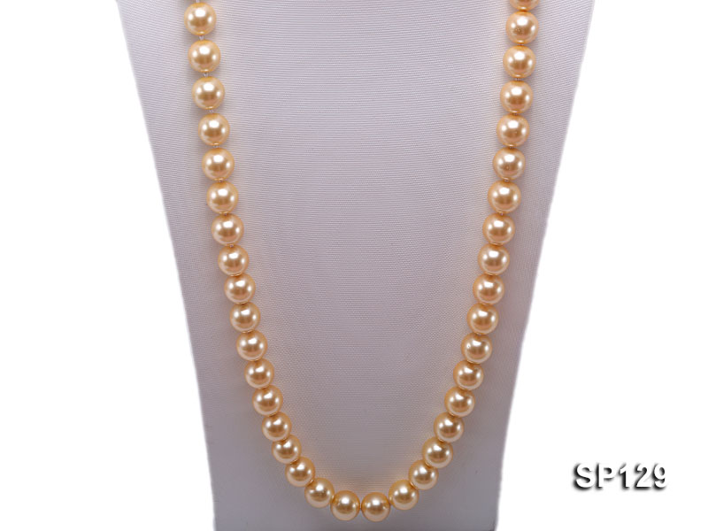 14mm golden round seashell pearl opera necklace big Image 2