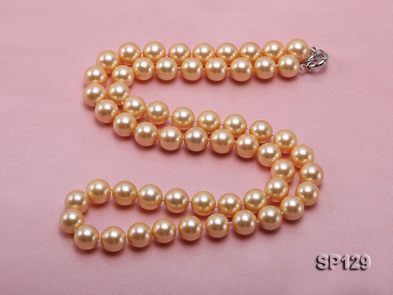 14mm golden round seashell pearl opera necklace big Image 4