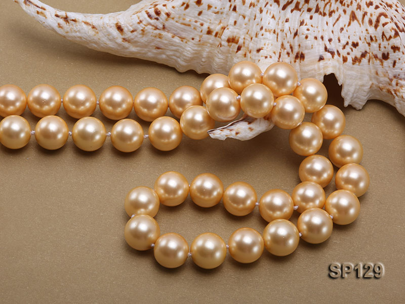 14mm golden round seashell pearl opera necklace big Image 5