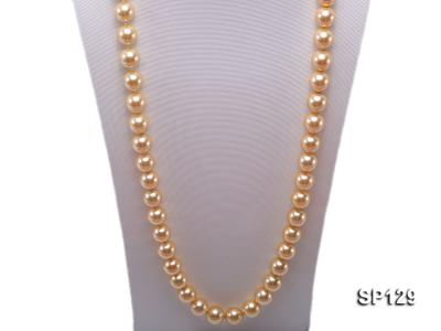 14mm golden round seashell pearl opera necklace SP129 Image 2