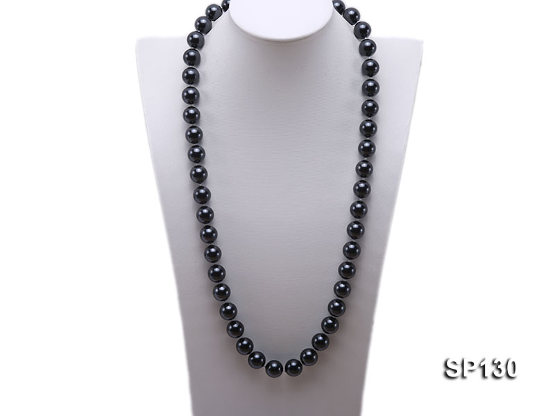 14mm black round seashell pearl necklace big Image 1