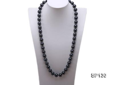 14mm black round seashell pearl necklace SP130 Image 1