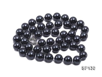 14mm black round seashell pearl necklace SP130 Image 3