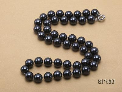 14mm black round seashell pearl necklace SP130 Image 4