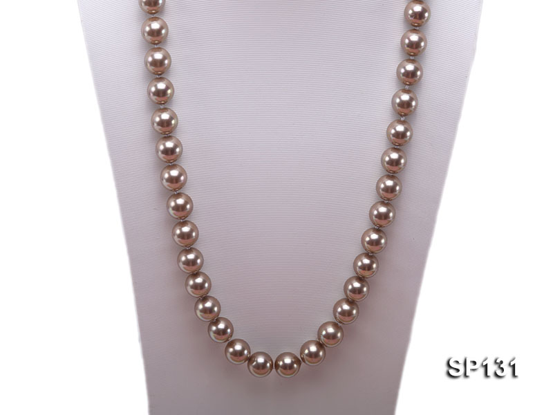 14mm coffee round seashell pearl necklace big Image 2