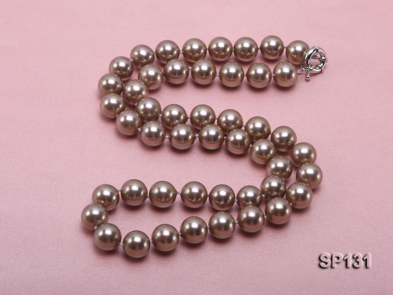 14mm coffee round seashell pearl necklace big Image 4