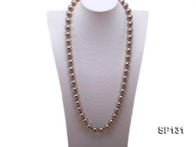 14mm coffee round seashell pearl necklace SP131 Image 1