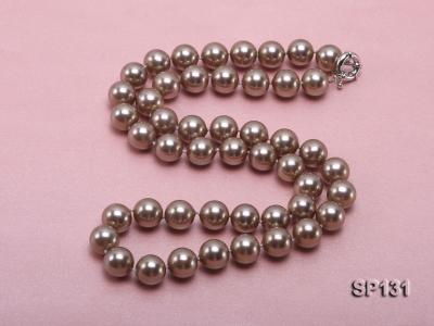 14mm coffee round seashell pearl necklace SP131 Image 4