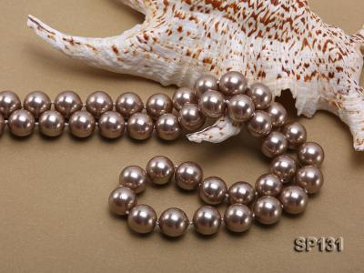 14mm coffee round seashell pearl necklace SP131 Image 5