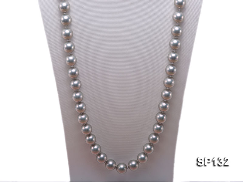 14mm grey round seashell pearl necklace big Image 2